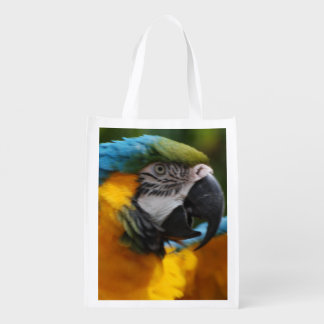 Ruffled Blue and Gold Macaw Grocery Bag