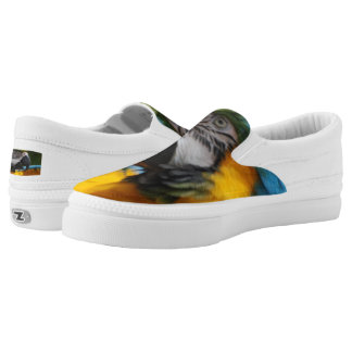 Ruffled Blue and Gold Macaw Slip-On Sneakers