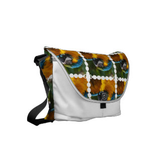 Ruffled Blue and Gold Macaw Small Messenger Bag
