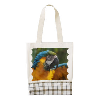 Ruffled Blue and Gold Macaw Zazzle HEART Tote Bag