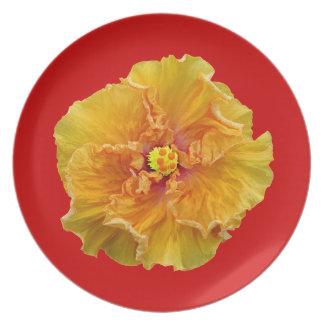 Ruffled Cajun Hibiscus Melamine Plate
