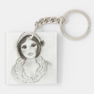 Ruffled Flapper Girl Keychain