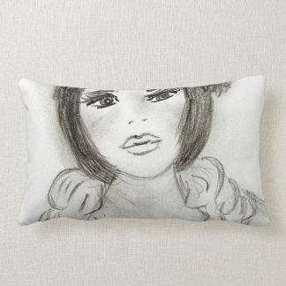 Ruffled Flapper Girl Lumbar Pillow