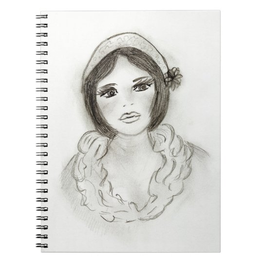 Ruffled Flapper Girl Spiral Notebook