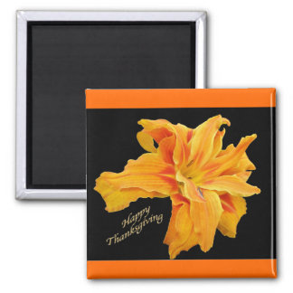 Ruffled Orange Lily  Happy Thanksgiving Magnet