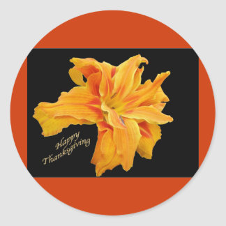 Ruffled Orange Lily Thanksgiving Stickers