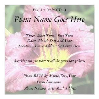 Ruffled Pink Daylily Invitations