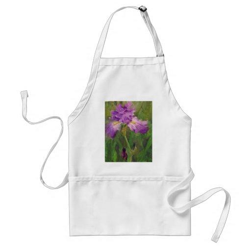 Ruffled violet iris  Margaret Aycock Designs Aprons
