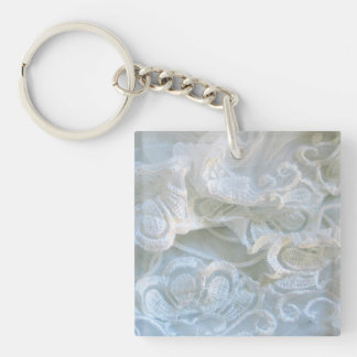 Ruffled White Lace Keychain