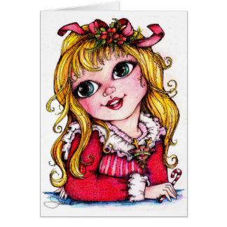 Ruffles and Reindeer Big Eye Girl Card