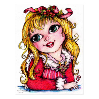Ruffles and Reindeer Big Eye Girl Postcards