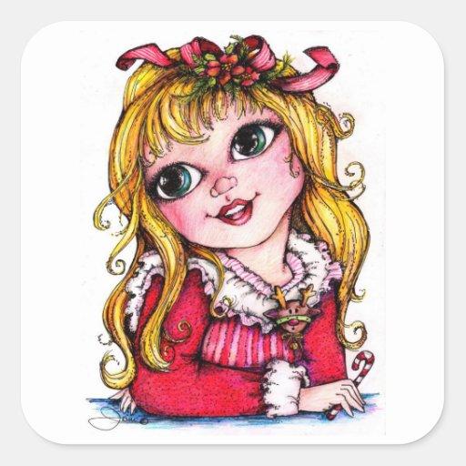 Ruffles and Reindeer Big Eye Girl Square Sticker