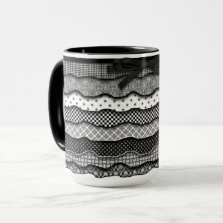 Ruffles Black and White Mug