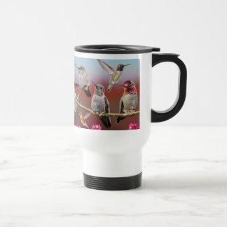 Rufous and anna's hummingbird collage travel mug