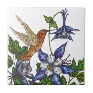 Rufous Hummingbird and Columbine Tile