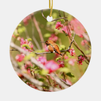 Rufous Hummingbird and Flowers Ceramic Ornament
