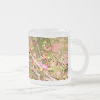 Rufous Hummingbird and Flowers Frosted Glass Coffee Mug