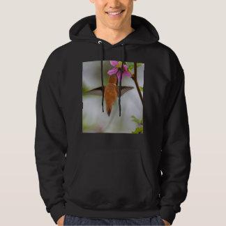 Rufous hummingbird at wild rose hoodie