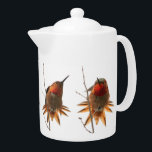 "Rufous Hummingbird Bird Wildlife Animal Teapot<br><div class=""desc"">Awesome Rufous Hummingbird Birds at a wetlands digital painting from a photograph is on this Teapot.</div>"