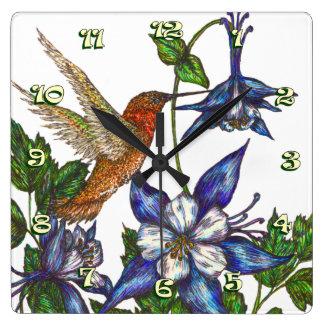 Rufous Hummingbird & Columbine Square Wallclock