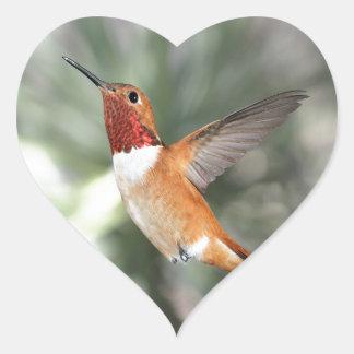 Rufous Hummingbird Heart Sticker
