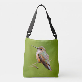 Rufous Hummingbird Sitting in the California Lilac Crossbody Bag