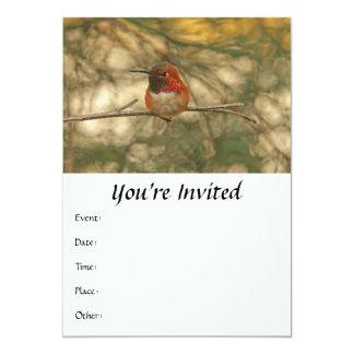 "Rufous Hummingbird Sitting 5"" X 7"" Invitation Card"