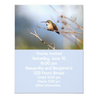 "Rufous Hummingbird Sitting 4.25"" X 5.5"" Invitation Card"