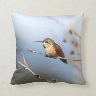 Rufous Hummingbird Sitting Throw Pillow