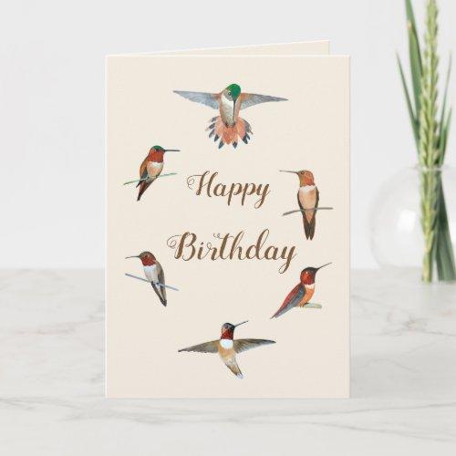 Rufous Hummingbirds Birthday Card