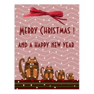 rufus cats kawaii xmas greetings postcard
