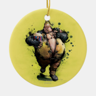 Rufus With Popcorn Double-Sided Ceramic Round Christmas Ornament