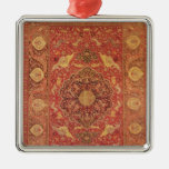 Rug decorated with scenes of fighting animals christmas ornament