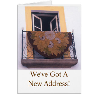 """""""RUG HANGING OUT OPEN BALCONY WINDOW""""/NEW ADDRESS CARD"""