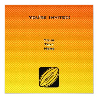 "Rugbi amarillo-naranja invitación 5.25"" x 5.25"""