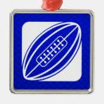 Rugbi azul ornamento para arbol de navidad