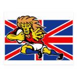 Rugbi británico del león del dibujo animado que se tarjetas postales