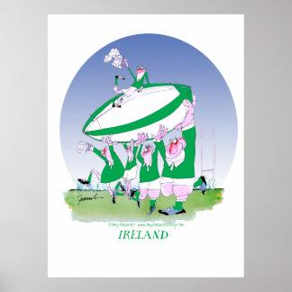 rugbi de Irlanda de 3 alegrías, fernandes tony Póster