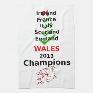 Rugbi de los campeones de País de Gales 2013 Toalla De Cocina