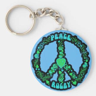 Rugbi del amor de la paz llavero