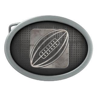 Rugbi; Negro fresco Hebilla De Cinturón Oval