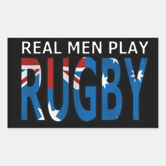 Rugbi real Australia del juego de los hombres Rectangular Pegatina