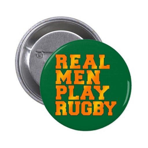 Rugbi real del juego de los hombres pin redondo de 2 pulgadas