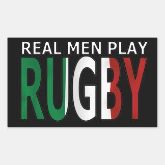 Rugbi real Italia del juego de los hombres Pegatina Rectangular
