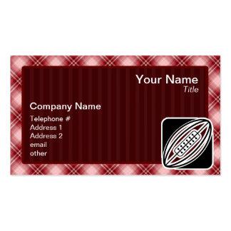 Rugbi rojo de la tela escocesa tarjeta de negocio