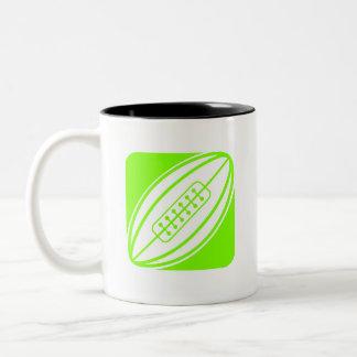 Rugbi verde chartreuse, de neón taza de dos tonos