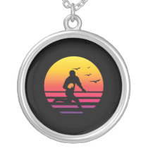 rugby 2 retro sunset, #rugby 2 silver plated necklace