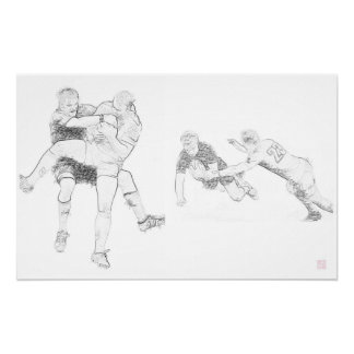 Rugby Action Montage - Poster Print