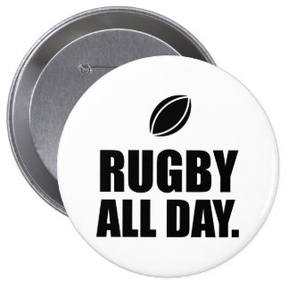 Rugby All Day Pinback Button
