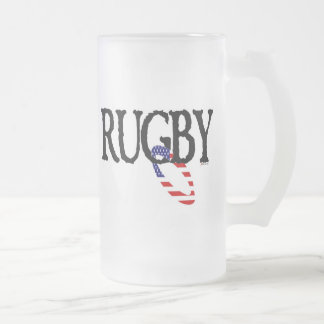 Rugby - Americana Frosted Glass Beer Mug